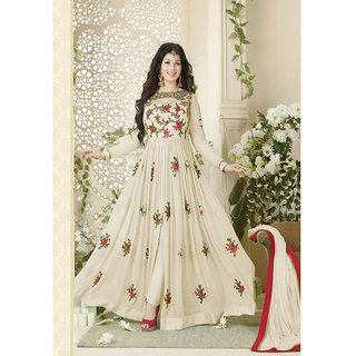 Ethnic Empire Designer Beautiful Off White Flower Printed Long Anarkali Suit for women  girls
