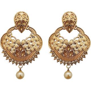 JewelMaze Gold Plated Brown Austrian Stone Dangler Earrings-1310551