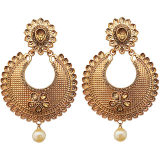 Jewelmaze Brown Kundan Stone Gold Plated Dangler Earrings 1310552
