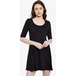 Miss Chase Women s Black Round Neck Half Sleeved Solid Mini Skater Dress 409da37f0