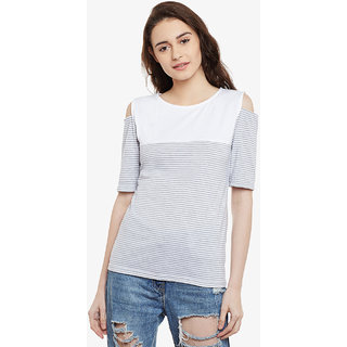 284f1ddeef903 Miss Chase Women s Grey   White Round Neck Half Sleeved Relaxed Fit Striped  Cold Shoulder Top