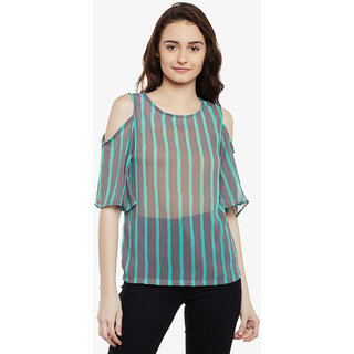 855c216990d578 Miss Chase Women s Grey   Mint Striped Round Neck Half Sleeve Sheer Cold Shoulder  Top