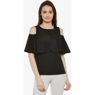96e0e1be23d3d7 Miss Chase Women s Black Round Neck Sleeveless Solid Ruffled Cold Shoulder  Top
