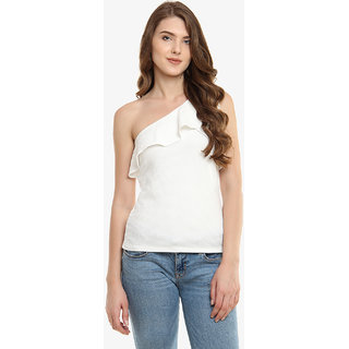 deb921b78fbce6 Buy Miss Chase Women s Off-white One Shoulder Sleeveless Solid Panelled  Ruffled Top Online - Get 64% Off