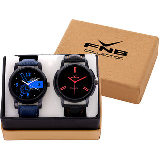 FNB Black Dial Analogue watch Combo for Men fnb0065