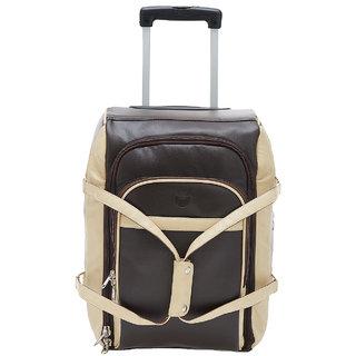 ae3c03b8bd MBOSS Stylish 33 Liter Duffel Trolley Travel Bag STB 041 BROWN CREAM