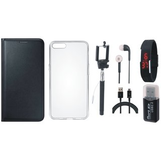 Lenovo K5 Note Luxury Cover with Memory Card Reader, Silicon Back Cover, Selfie Stick, Digtal Watch, Earphones and USB Cable