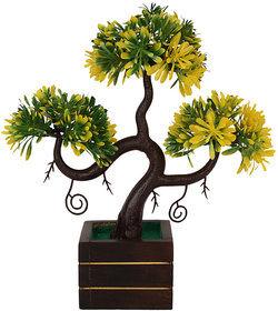 Adaspo Artificial Plant with bumble bee yellow /green leaves in Natural Wooden pot(23 cm)