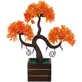 adaspo artificial plant in pumpkin orange leaves with natural wooden