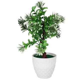 Adaspo Artificial Plant with white flowers in Melamine Fancy Round White Pot (32 cm)