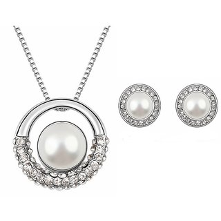 RM Jewellers 92.5 Sterling Silver American Diamond Glamorous Pendant Set For Women ( RMJPS88812 )