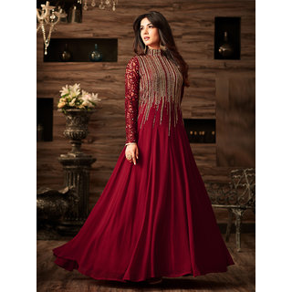 Salwar Soul New Disigner Georgette maroon Anarkali Suit In Wine Colour