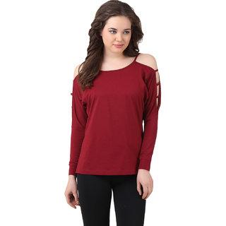 9b57cefe32aff Buy Texco Women Burgundy Solid Full sleeve Scop neck Top Online - Get 85%  Off