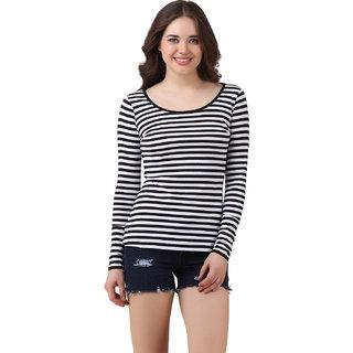 Texco Women Black & White Striped Full sleeve Scoop neck Top