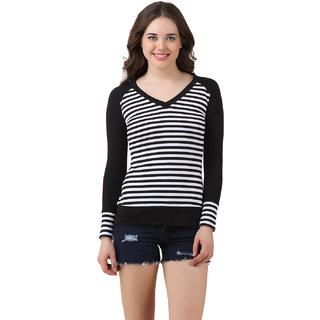 Texco Women Black & White Striped Full sleeve V' neck Top