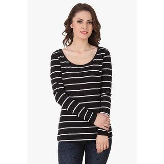 bd3d1268354c9 Buy Texco Women Black   White Stripe Full sleeve Scoop neck Top ...