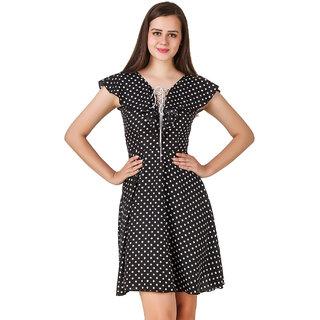 Texco Women Black Dot print Sleeve less V' Neck Dress
