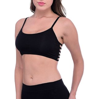 ccab7dc92b9b1 Buy 6 Straps Black Padded Bralette Bra (removable pads)(Size FREE) (Color  Black) Online - Get 50% Off