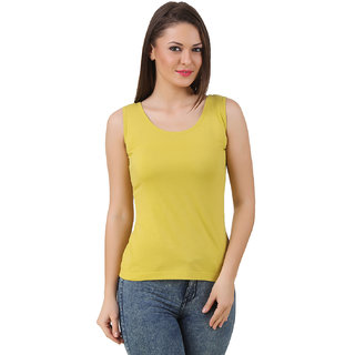 Texco Women Yellow Solid Sleeve less Scop neck Tank Top