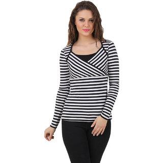 939e9ce6b47c4 Buy Texco Women Black   White stripe Full sleeve Sweet heart neck ...