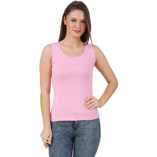 Texco Women Pink Solid Sleeve less Scop neck Tank Top