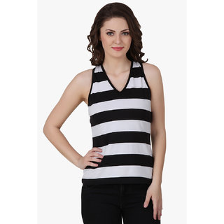 Texco Women Black & White Stripe Sleeve less V' neck tank top
