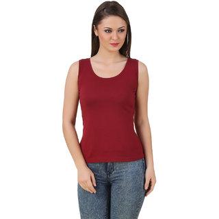 Texco Women Maroon Solid Sleeve less Scop neck Tank Top