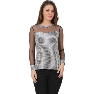 Texco Women Black & Ivory Houndstooth Full sleeve Round neck Top