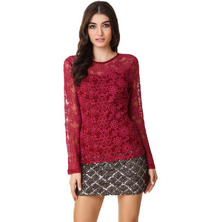 Texco Women Wine Lace Full sleeve Round neck Top