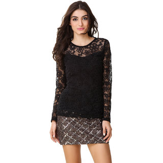 Texco Women Black Lace Full sleeve Round neck Top