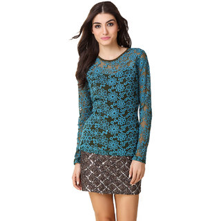 Texco Women Teal Blue Lace Full sleeve Round neck Top