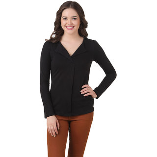 Texco Women Black Solid Full sleeve V' neck Top