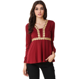Texco Women Maroon Solid Full sleeve V' neck Top
