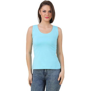 Texco Women Sky blue Solid Sleeveless Scoop neck Tank Top