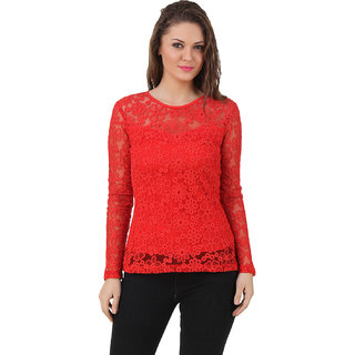 Texco Women Red Lace Full sleeve Round neck Top