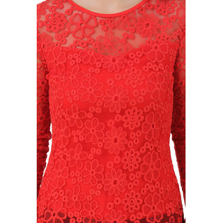 Buy Texco Women Red Lace Full sleeve Round neck Top Online - Get 70% Off 7054f4218