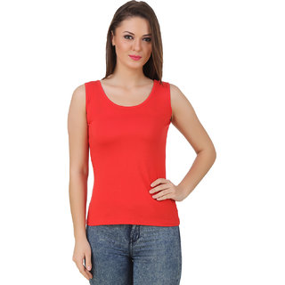 Texco Women Red Solid Sleeve less Scop neck Tank Top