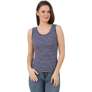 Texco Women Navy & White Stripe Sleeve less Scop neck Tank Top