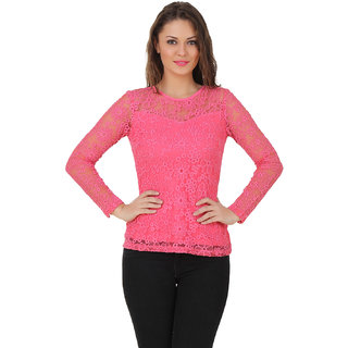 Texco Women Pink Lace Full sleeve Round neck Top