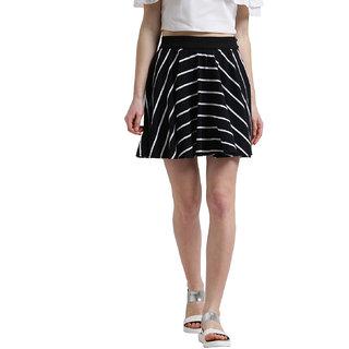 Texco Women Black & White Striped Short Flared Skirt