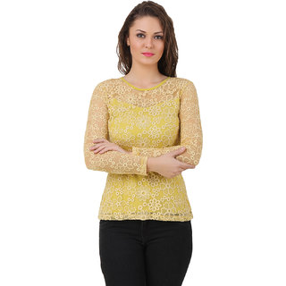 e017915ca4463 Buy Texco Women Lime Yellow Lace Full sleeve Round neck Top Online - Get  67% Off