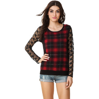 Buy Texco Women Red   Black Cheched Full sleeve Scoop neck Top ... 0a2187b0a