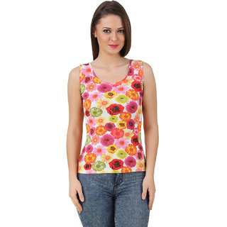 Texco Women Multy Color Floral print Sleeve less Scop neck Tank Top