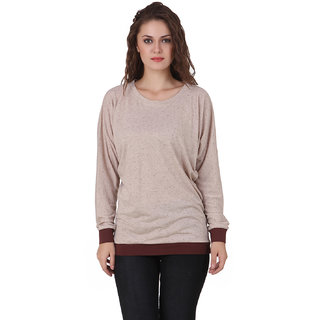 Texco Women Brown Solid Full sleeve Round neck Top