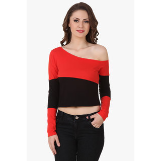Texco Women Red & Black Color block Full sleeve One off shoulder Top
