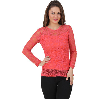 Texco Women Coral pink Lace Full sleeve Round neck Top