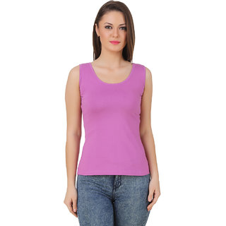 Texco Women Pastel Voilet Solid Sleeve less Scop neck Tank Top