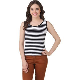 Texco Women Black Stripe Tank Sleeve less Scop neck Tank Top