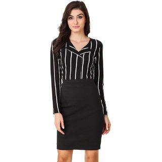 Texco Women Black  White Stripe Full sleeve V' neck Top