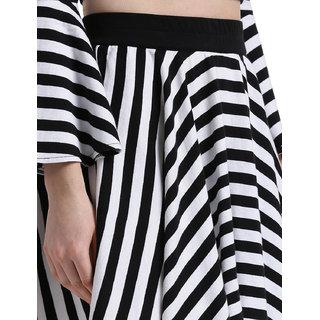 Texco Women White & black Striped Short Flared Skirt